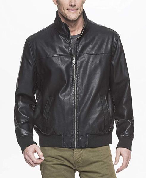 Best for Vegan: Tommy Hilfiger Men's Smooth Lamb Faux Leather Bomber Jacket