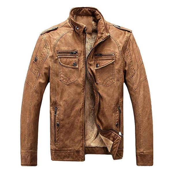 Best Cool: YIMANIE Men's Vintage Stand Collar Cool Pu Leather Bomber Jacket