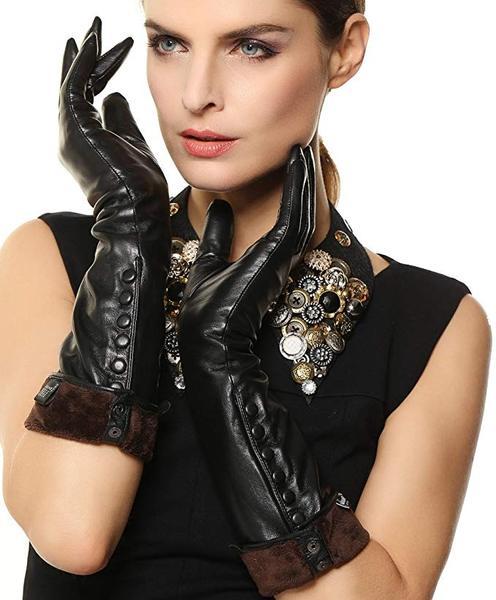 Best Buy: WARMEN Women's Touchscreen Long Elbow Length Winter Fleece Lined Leather Gloves Buttons