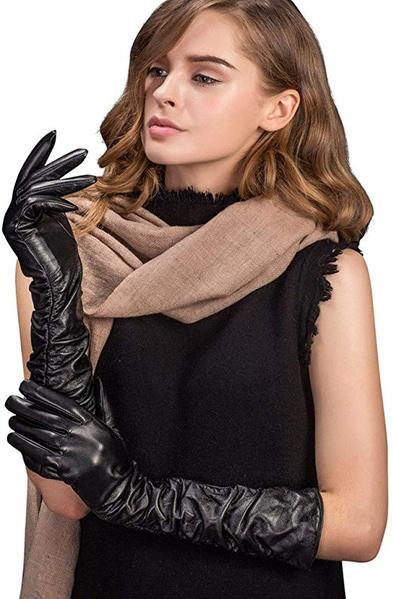 Best Pick:YISEVEN Women's Touchscreen Lambskin Leather Long Evening Opera Gloves Pleats