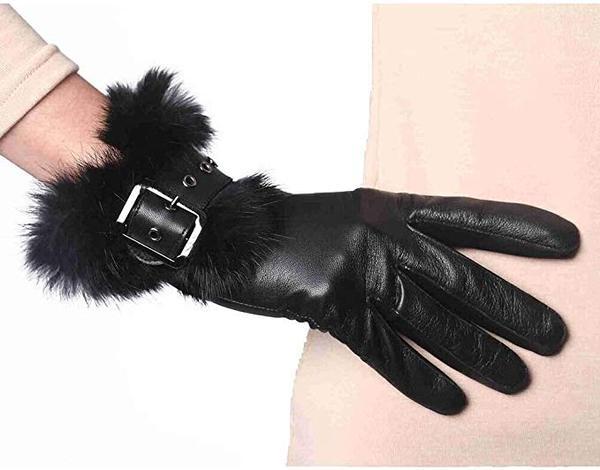 Best Comfort:YISEVEN Women's Touchscreen Lambskin Leather Gloves Rabbit Fur Cuff
