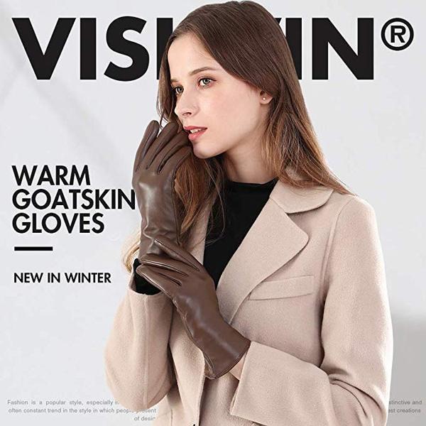 Best Driving Glove: Vislivin Full-Hand Womens Warm Genuine Leather Gloves in Winter
