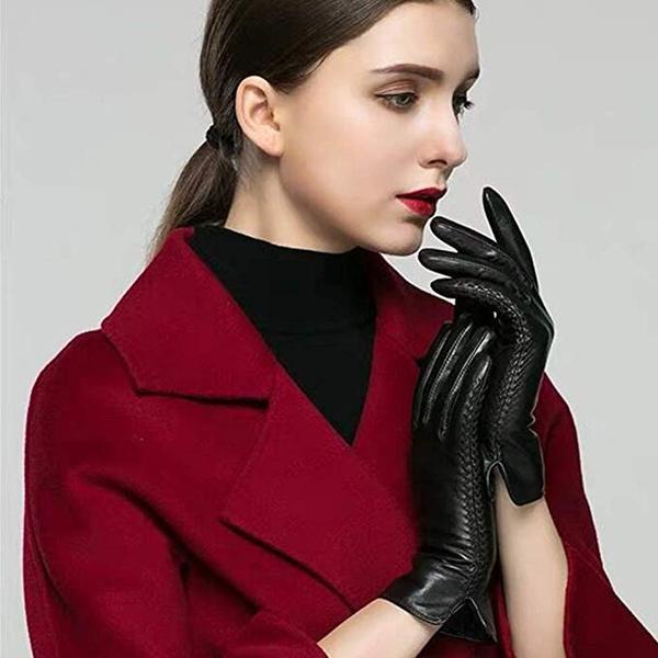 Best Durable: QNLYCZY Women's Winter Sheepskin Leather Gloves
