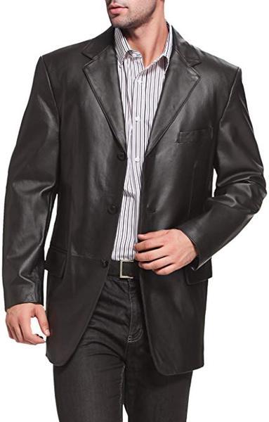 Best Soft:BGSD Men's Liam 3-Button Lambskin Leather Blazer
