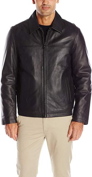 Best Budget: Tommy Hilfiger Men's Smooth Lamb Leather Laydown Collar Open Bottom Jacket