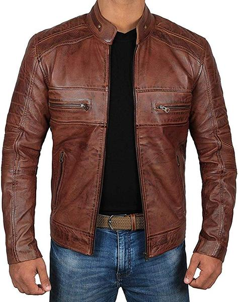 Best Brown: Decrum Brown Leather Jacket for Men