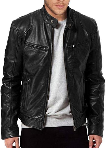 Best For Biker: The Leather Factory Men's Sword Black Lambskin Leather Jacket