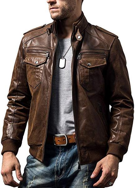 Best Retro: FLAVOR Men's Retro Brown Leather Jacket