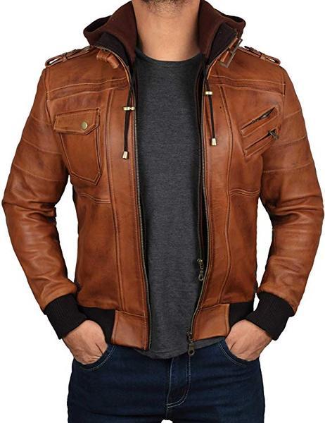 Best Bomber: Decrum Men's Bomber Leather Jacket with Hood