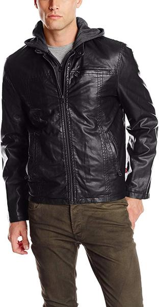 Best for Vegan:Levi's Men's Faux-Leather Jacket with Hood