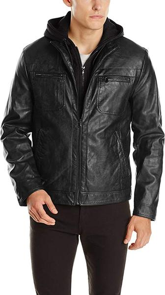Best Style: Kenneth Cole REACTION Men's Marble Faux Leather Jacket with Hood