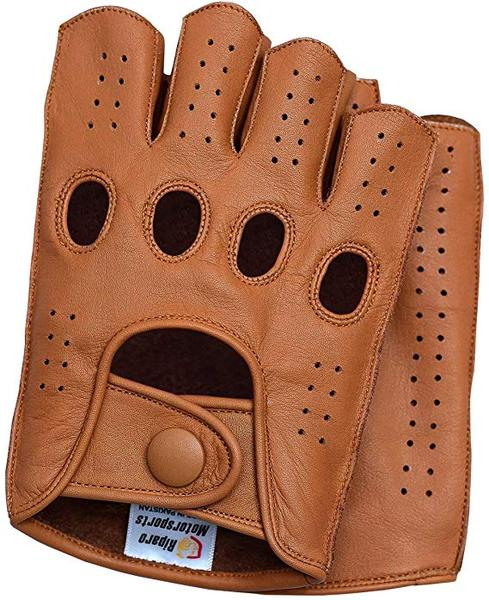 Best Half-finger: Riparo Mens Leather Reverse Stitched Fingerless Half-Finger Driving Motorcycle Gloves