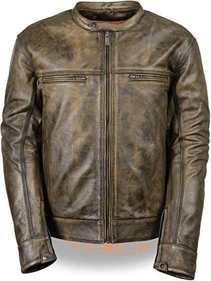 Milwaukee Men's Distressed Brown Leather Motorcycle Jacket