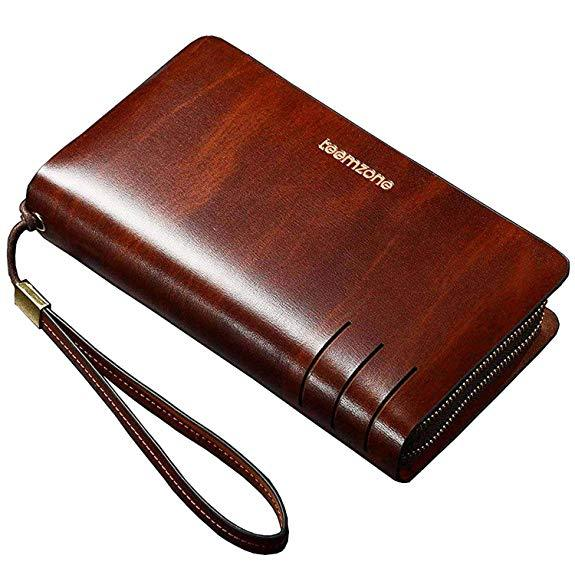 Best Leather: Teemzone Mens Genuine Leather Checkbook Wallet