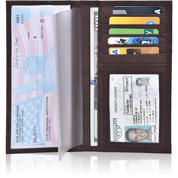 Best Durable: ESTALON Leather Checkbook Cover for Women and men
