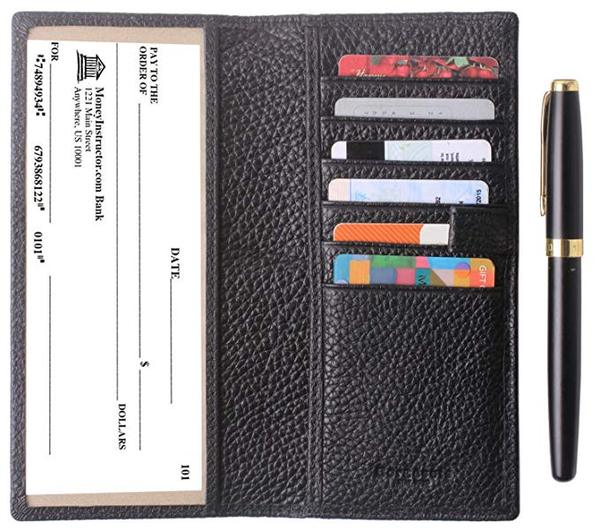 Best With Pen Insert: Borgasets Men's Leather Bifold Checkbook Wallet For Women & Men