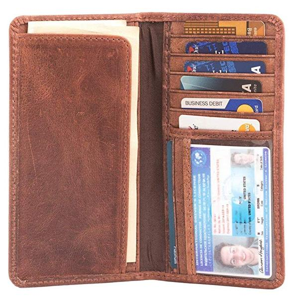 Best for the Traditionalist: RAWHYD Long Leather Checkbook Wallet