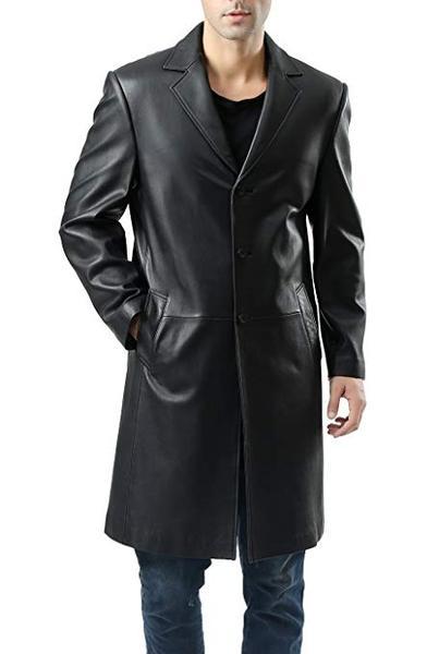 Best Value: BGSD Men's Classic New Zealand Lambskin Leather Long Walking Coat