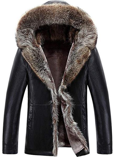 Best for Winter: K3K Men's Winter Warm Shearling Sheepskin Leather Coat