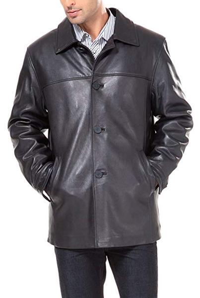 Best Lambskin Leather: BGSD Men's Samuel New Zealand Lambskin Leather Car Coat