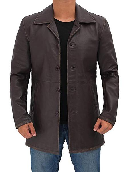 Best Overall: Distressed Leather Coat for Men