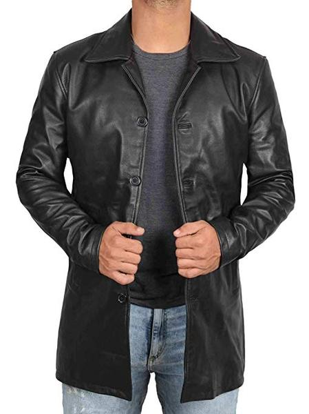 Best Durable: Blingsoul Black Leather Coat Men