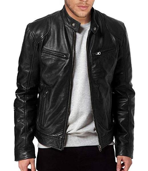 Best for Biker: The Leather Factory Men's Sword Black Leather Biker Jacket