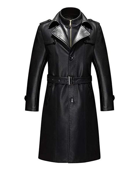 Best Style: Duberess Mens Double Collar Long Trench Coat Long PU Leather