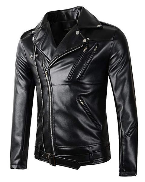 Best for Motorcycle: Beninos New Mens Causal Belted Design Slim Faux Leather Biker Zipper Coat