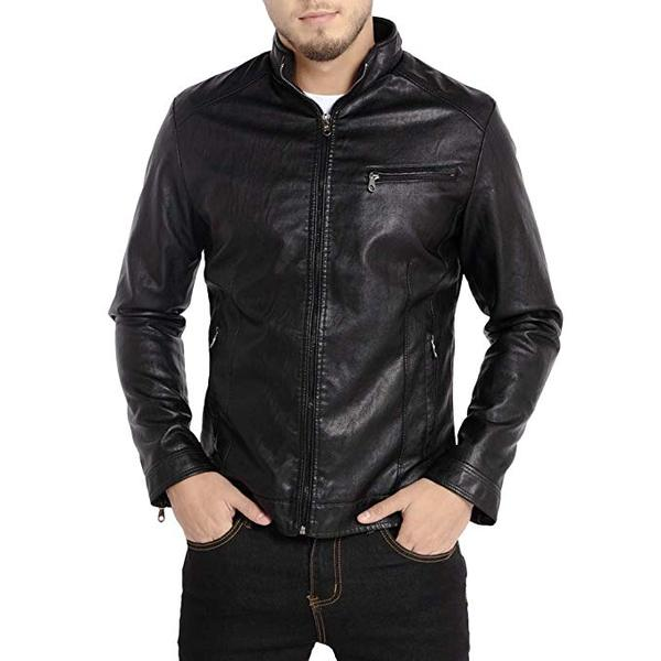 Best for Vegan: WULFUL Men's Stand Collar Leather Coat