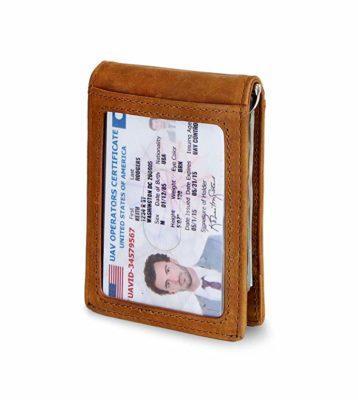 Best For Men: SERMAN BRANDS Slim Bifold Genuine Leather Money Clip Wallet
