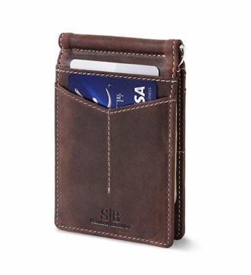 Best Design: SERMAN BRANDS Slim Bifold Leather Money Clip Wallet for Men