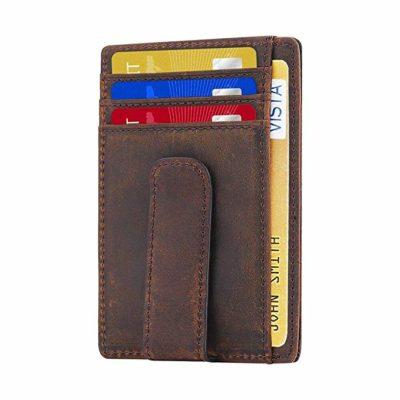 Best with ID Viewer: Beartwo Genuine Leather Money Clip Wallet