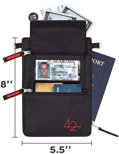 Best Storage: 42Travel Premium Neck Wallet for Women & Men with RFID Blocking