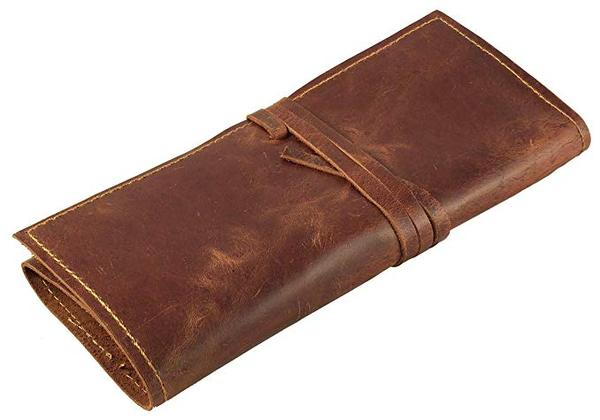 Best Retro: Rustic Genuine Leather Pen and Pencil Case