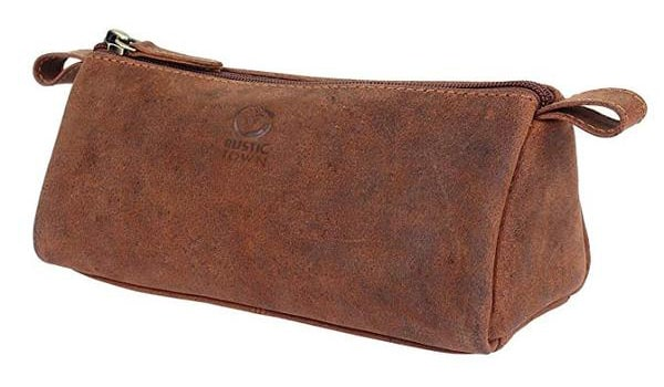 Best Zip: Rustic Town Leather pen & Pencil Case