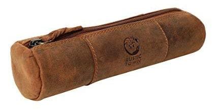 Best Shape: Rustic Town Leather Zipper Pen Case for School, Work & Office