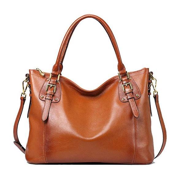 Best Overall: Kattee Women's Vintage Genuine Leather Shoulder Bag