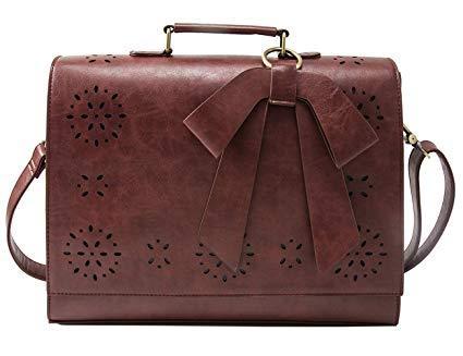 Best For School: ECOSUSI Ladies Vegan Leather Laptop Shoulder Bag