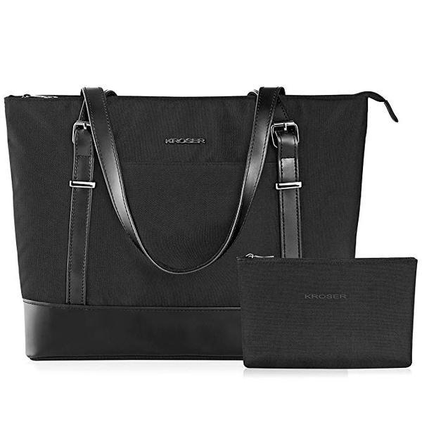 Best For Vegan: KROSER Laptop Tote Bag 15.6 Inch Large Shoulder Bag