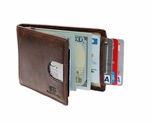 Best Slim Bifold: SERMAN BRANDS RFID Blocking Slim Bifold Genuine Leather Wallet for Men with Money Clip