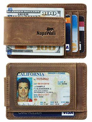 Best RFID Blocking: NapaWalli Slim Leather Money Clip Wallet RFID Blocking