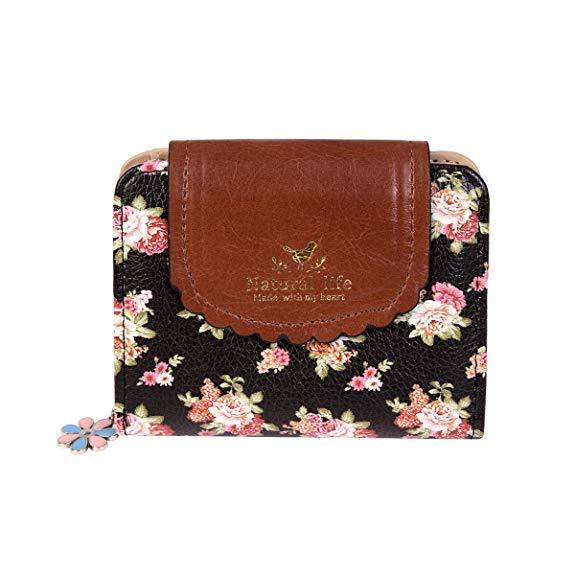Best Design: Damara Women PU Zipper Closure Flower Printed Flap Wallet