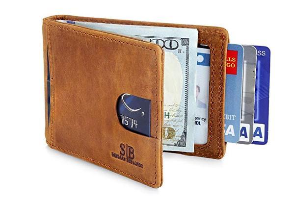Best Slim Bifold: SERMAN BRANDS Thin Bifold Wallet for Men with Money Clip