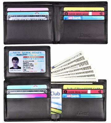 Best Overall: Kinzd Men's Leather Trifold Wallet RFID Blocking
