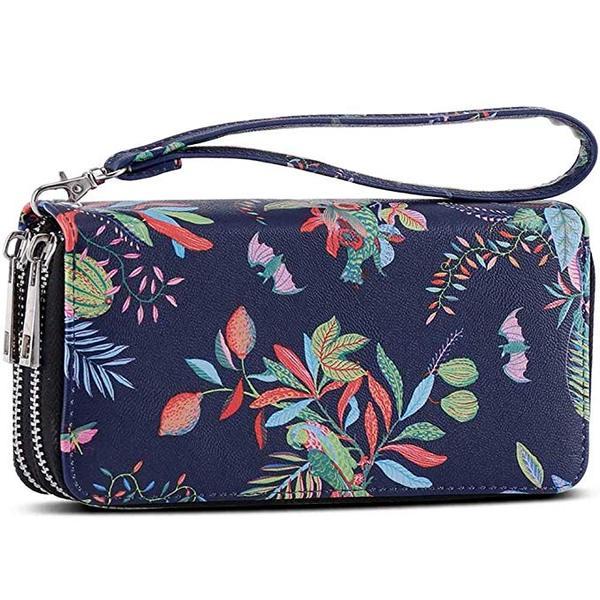 Best Cellphone Wallet: XEYOU Double Zipper Long Clutch Wristlet Wallet