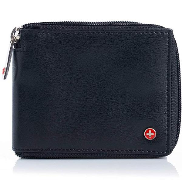 Best Budget: Alpine Swiss RFID Blocking Mens Leather Wallet Zip Around Wallet