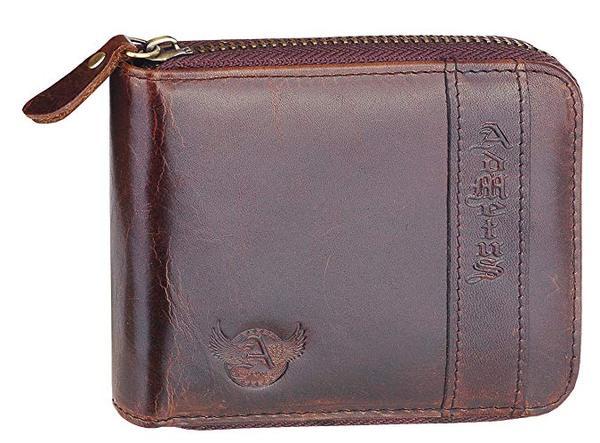 Best Short: Admetus Men's Genuine Leather Short Zipper around Bifold Wallet