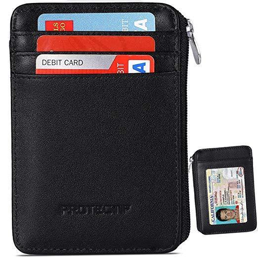 Best Slim: RFID Blocking Sleeves Front Pocket Zipper Around Wallet for Men