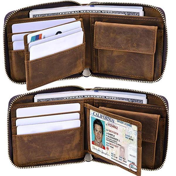 Best for Travel: Itslife Travel Men's RFID Leather Zipper Around Wallet